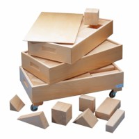 Large wooden building blocks in 3 boxes