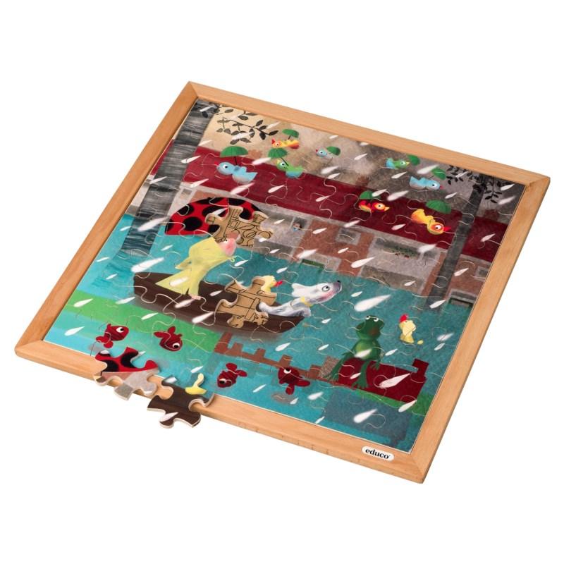 Extreme rain l Wooden puzzle l 64 puzzle pieces l Educo