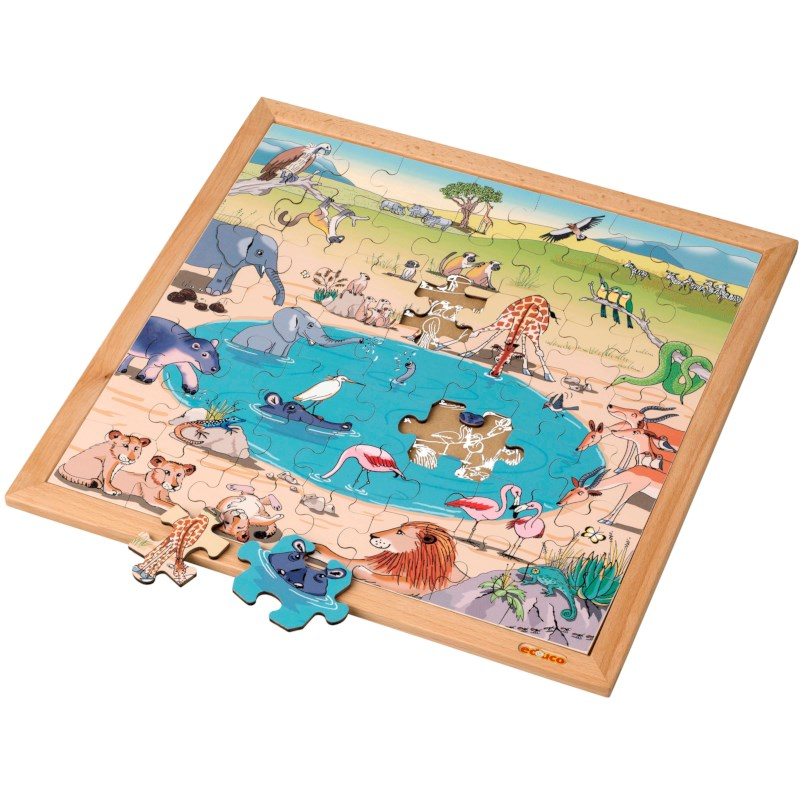 Vocabulary puzzle – savannah l Wooden puzzles l 49 puzzle pieces l Educo