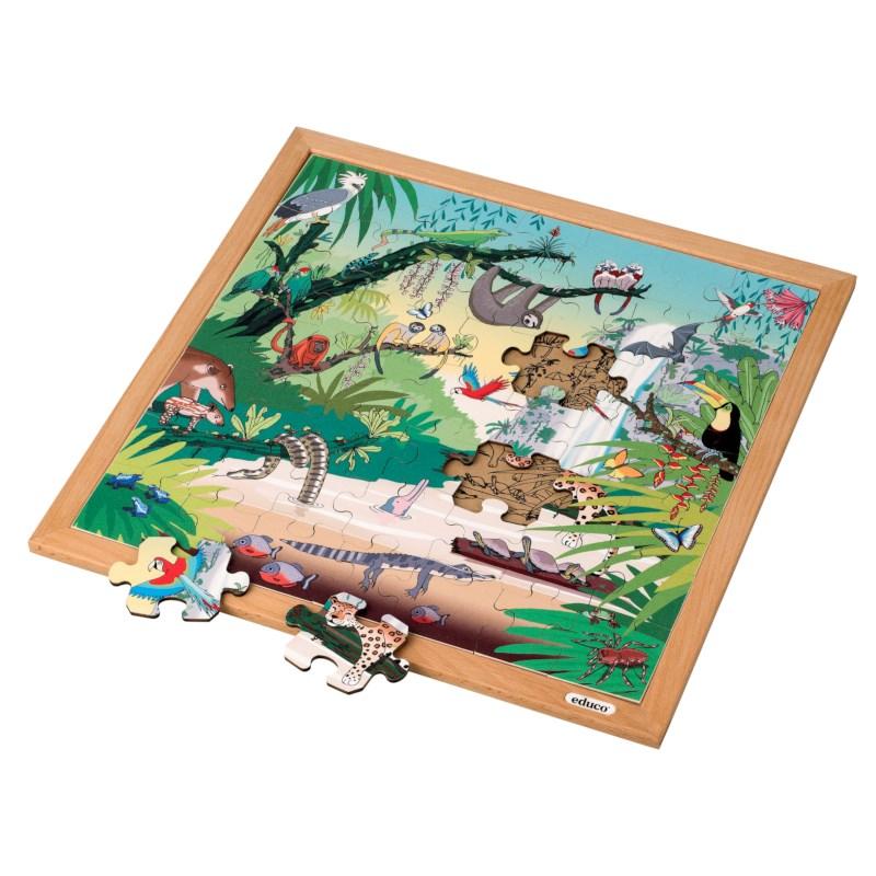 Vocabulary puzzle tropical forest l Wooden puzzles l 49 puzzle pieces l Educo