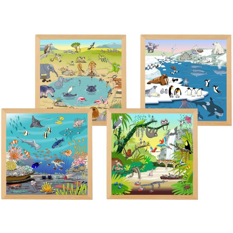Vocabulary puzzles habitats - set of 4  l Wooden puzzles l Educo