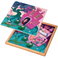 Wooden 2-layered puzzle l Princess castle l 89 puzzle pieces l Educo
