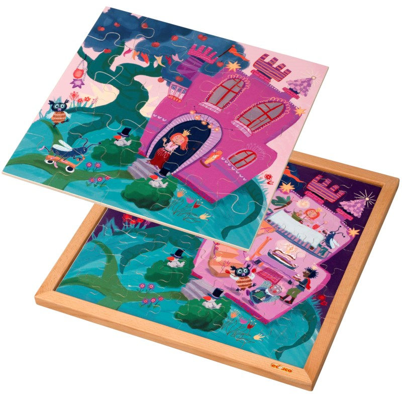 Wooden 2-layered puzzle l Princess castle l 89 puzzle pieces l Educo