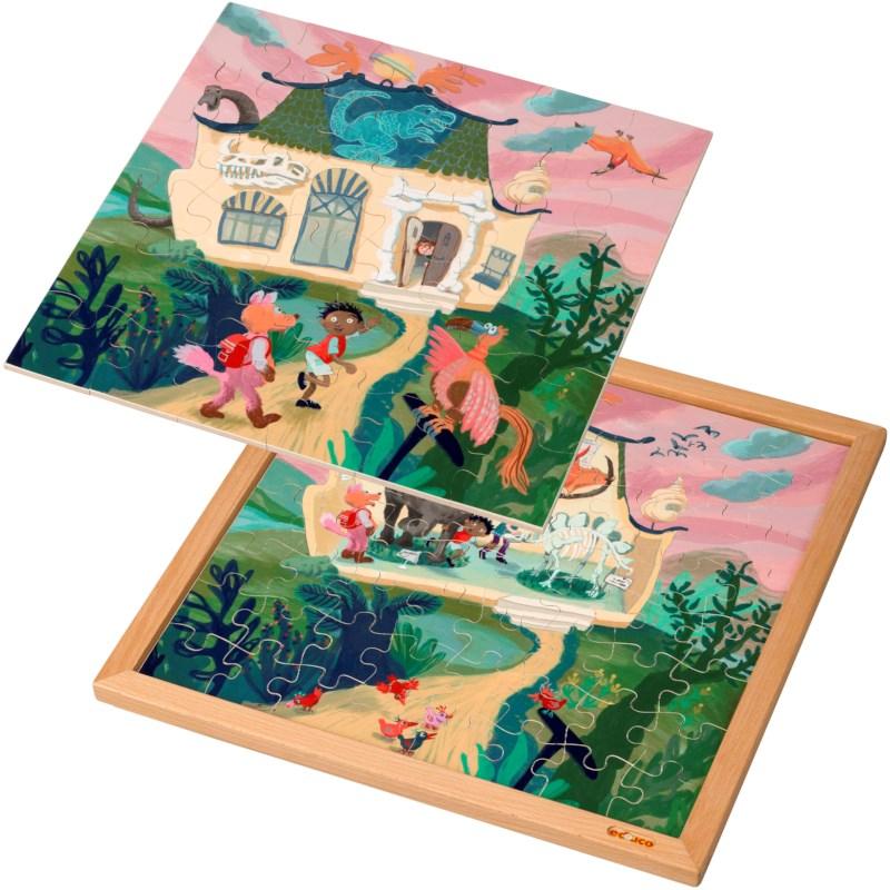 Wooden 2-layered puzzle l Dinosaur museum l 100 puzzle pieces l Educo