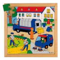 Street action puzzle - trash collection