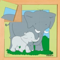 Animal puzzle mother + child - elephant