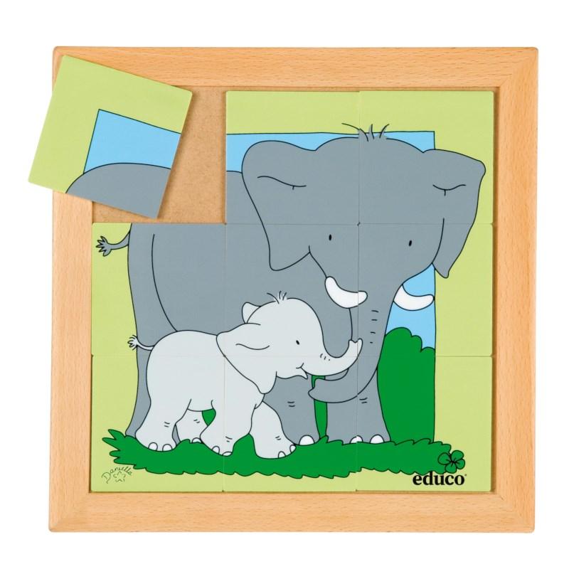 Animal puzzle mother + child - elephant