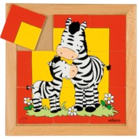 Animal puzzle mother + child - zebra