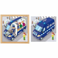 Puzzle in 2 layers - police car